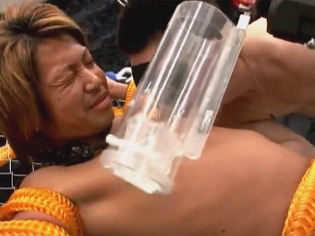 【無修正ゲイ動画】イケメンギャル男を太いロープで身動きを取れなくし電動のオナホールで強制射精wwその7