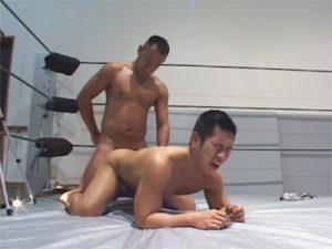 【企画ゲイ動画】レスリングから手コキやフェラチオや生セックスにハッテン…モロ感ボイスで喘ぐガチムチおやじww