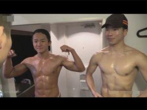 【企画ゲイ動画】色白と色黒の2人のマッチョが自慢の肉体を使って細身の男を犯しまくるww